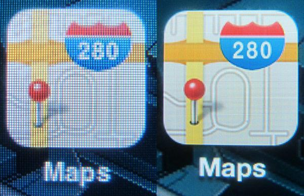 Iphone 3GS til venstre, Iphone 4 til høyre. Sistnevnte har en oppløsning på hele 960 x 640 piksler. (Foto: Engadget)