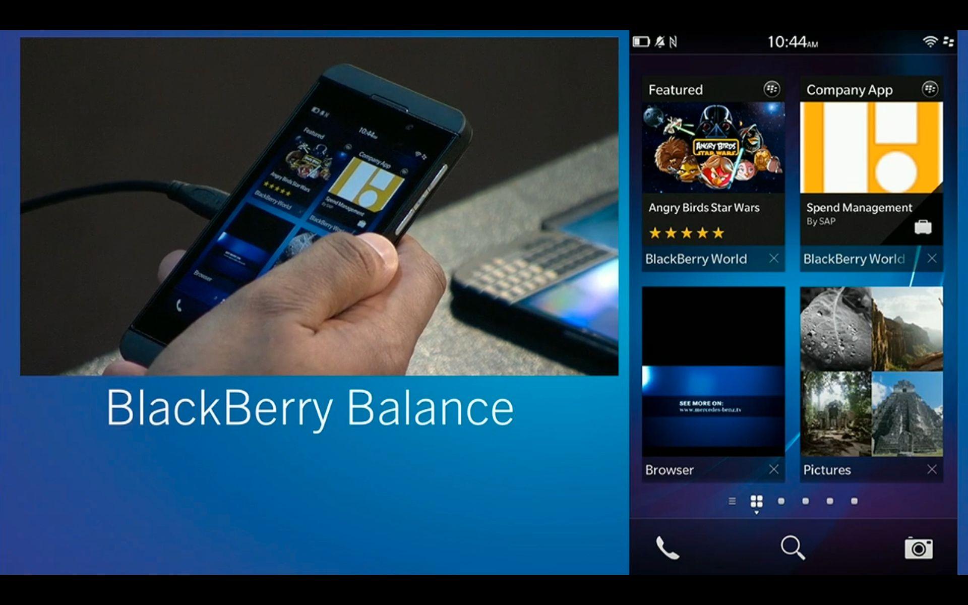 Skjermbilde fra demonstrasjonen av BlackBerry Balance.