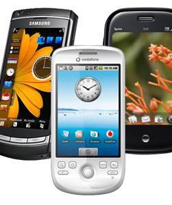 Dette er noen av telefonene som Adobe Flash 10 beta vil støtte. (Fra venstre: Omnia HD (Symbian OS), HTC Magic (Android) og Palm Pre(Web OS))