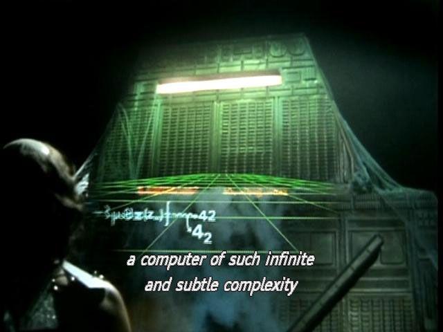 UTOPI? Vi må til filmer som «The Hitchhiker's Guide to the Galaxy» for å finne et prosjekt lignende Living Earth Simulator. Her bruker superdatamaskinen Deep Thought flere milliarder år på å finne ut hva som er meningen med livet.