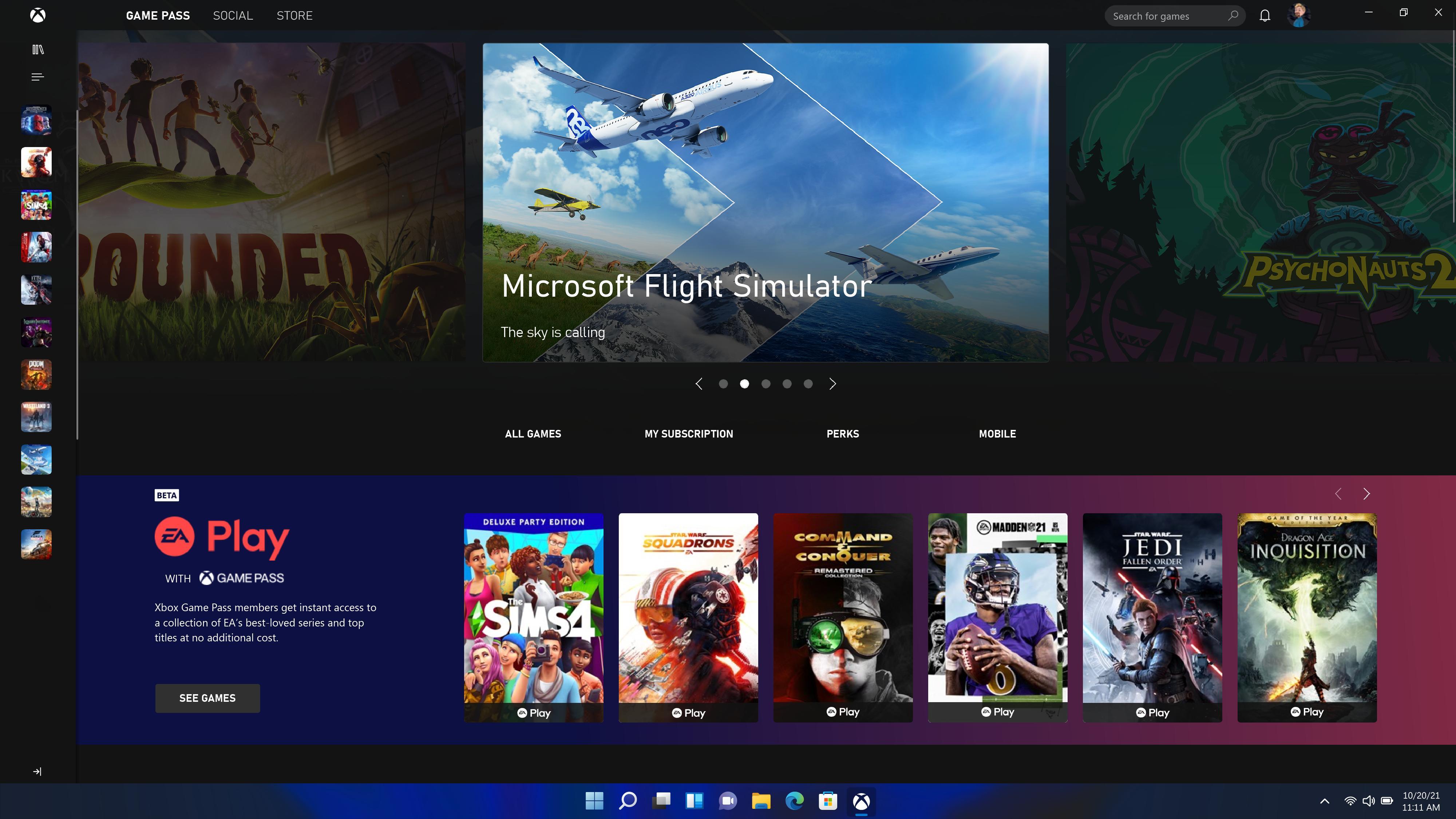Xbox Game Pass er på plass i Windows 11.