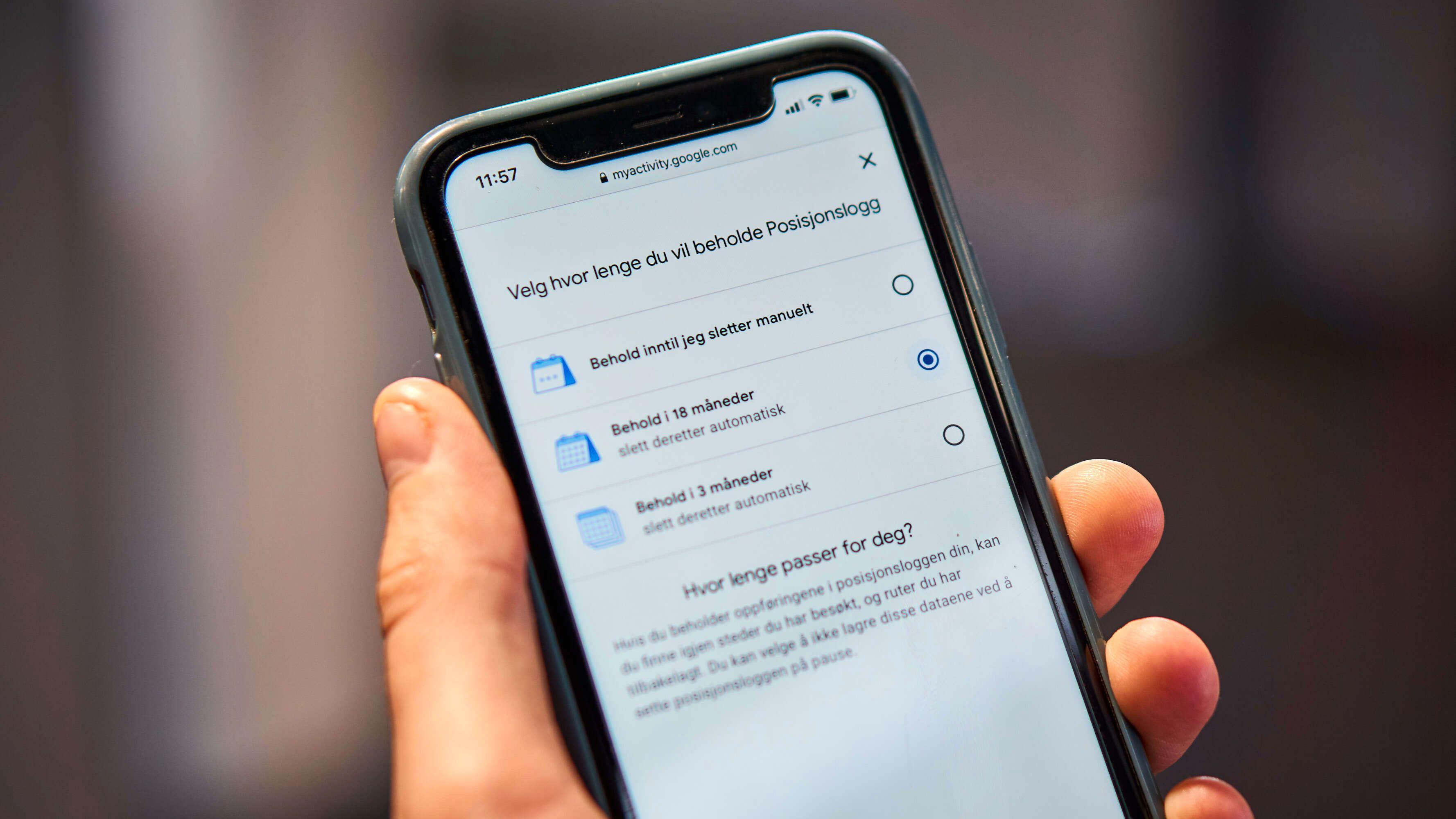 Googles automatiske sletting av data blir nå satt til 18 måneder som standard for nye kontoer og for kontoer hvor posisjonslogg aktiveres for første gang.