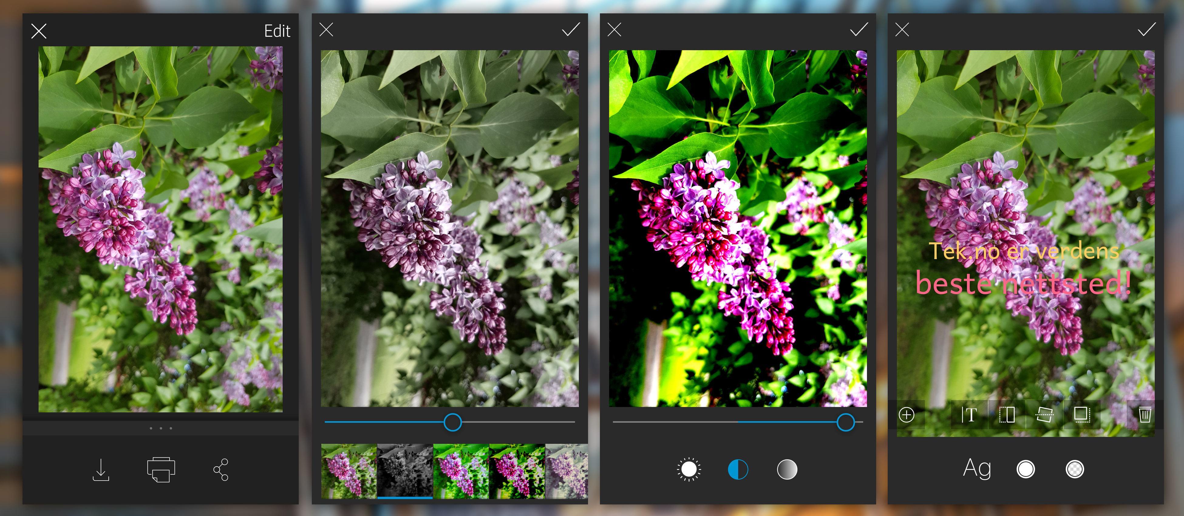 Bildene kan tweakes på mange måter raskt og enkelt.