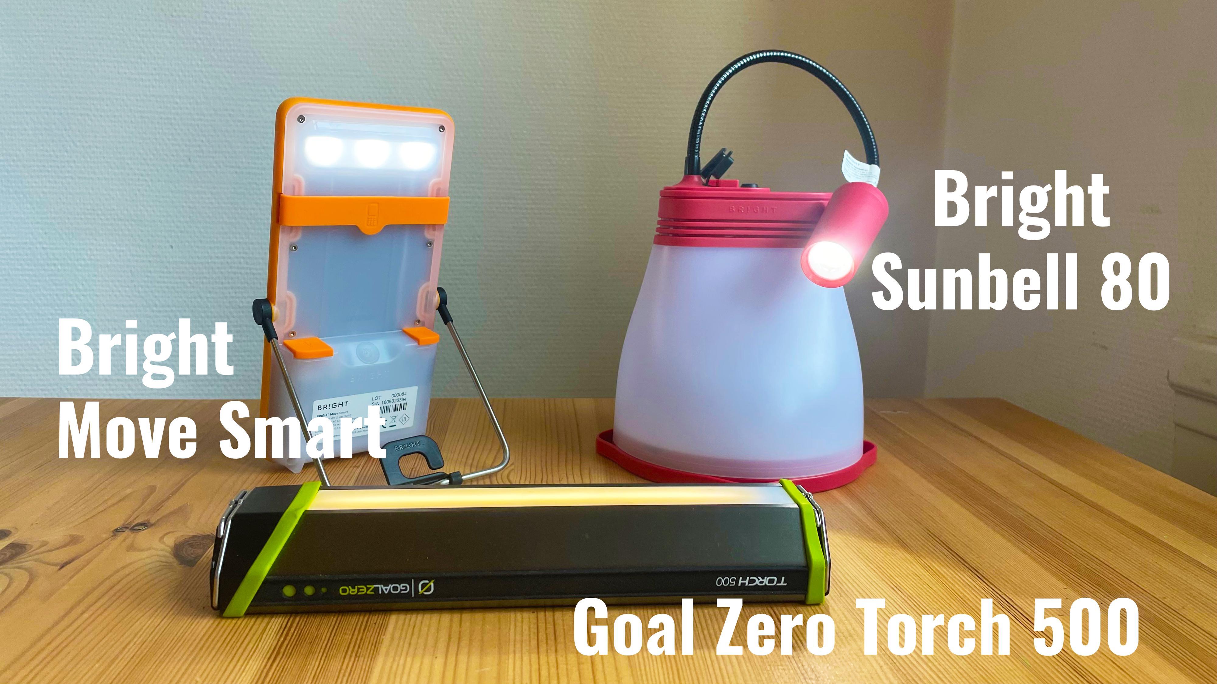 Bright Move Smart, Goal Zero Torch 500 og Bright Sunbell 80