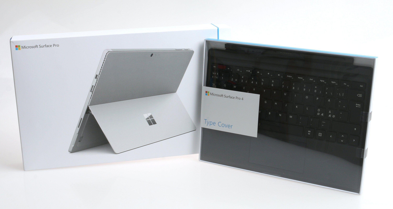 Surface Pro 4 og Surface Pro 4 Type Cover som det kommer innpakket. Foto: Vegar Jansen, Tek.no