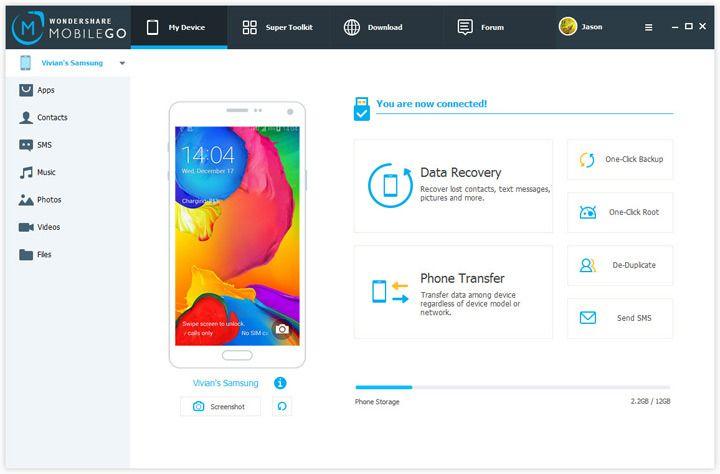 Slik ser MobileGo sitt grensesnitt ut. Enkelt og greit, her er det lite som kan forvirre. Foto: Wondershare
