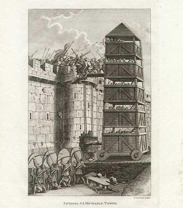 Middelaldersk beleiringstårn fra England. Foto: Francis Grose