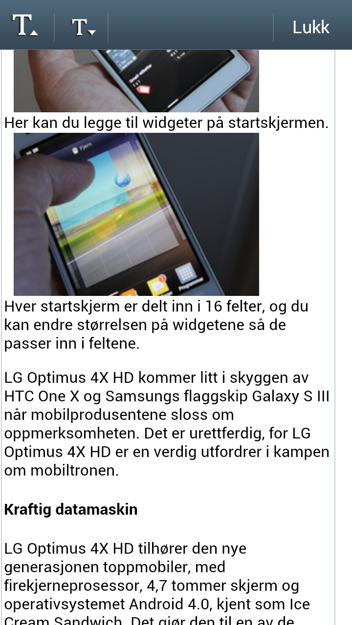 Nettleseren i Galaxy S III kommer med en egen lesemodus som er spesielt nyttig for lange stykker tekst.