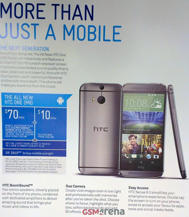 GSM Arena fikk nylig tak i en Telstra-brosjyre med detaljert informasjon om den nye HTC-toppmodellen.Foto: GSM Arena