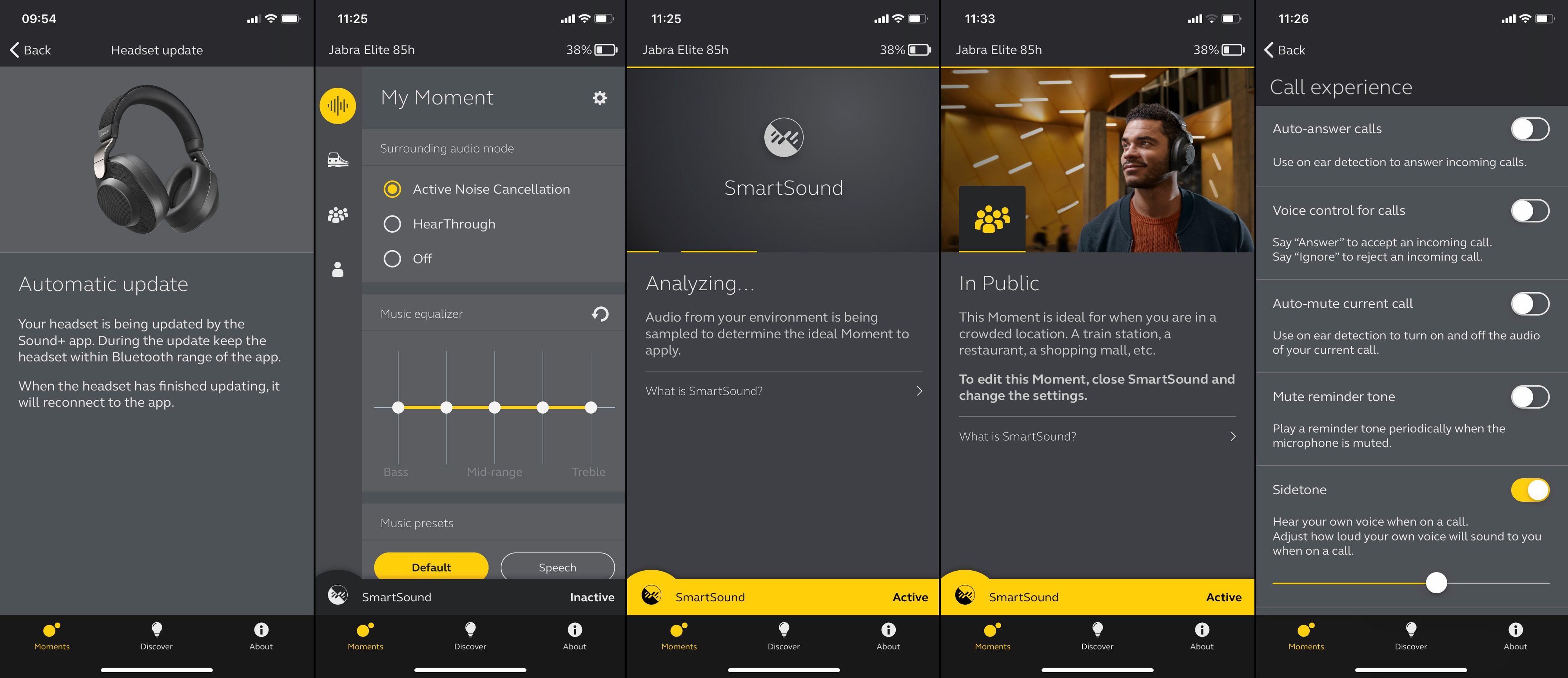 Jabra-appen gir tilgang til å finjustere de fleste funksjoner. Vil du la hodetelefonene bestemme, aktiverer du SmartSound.