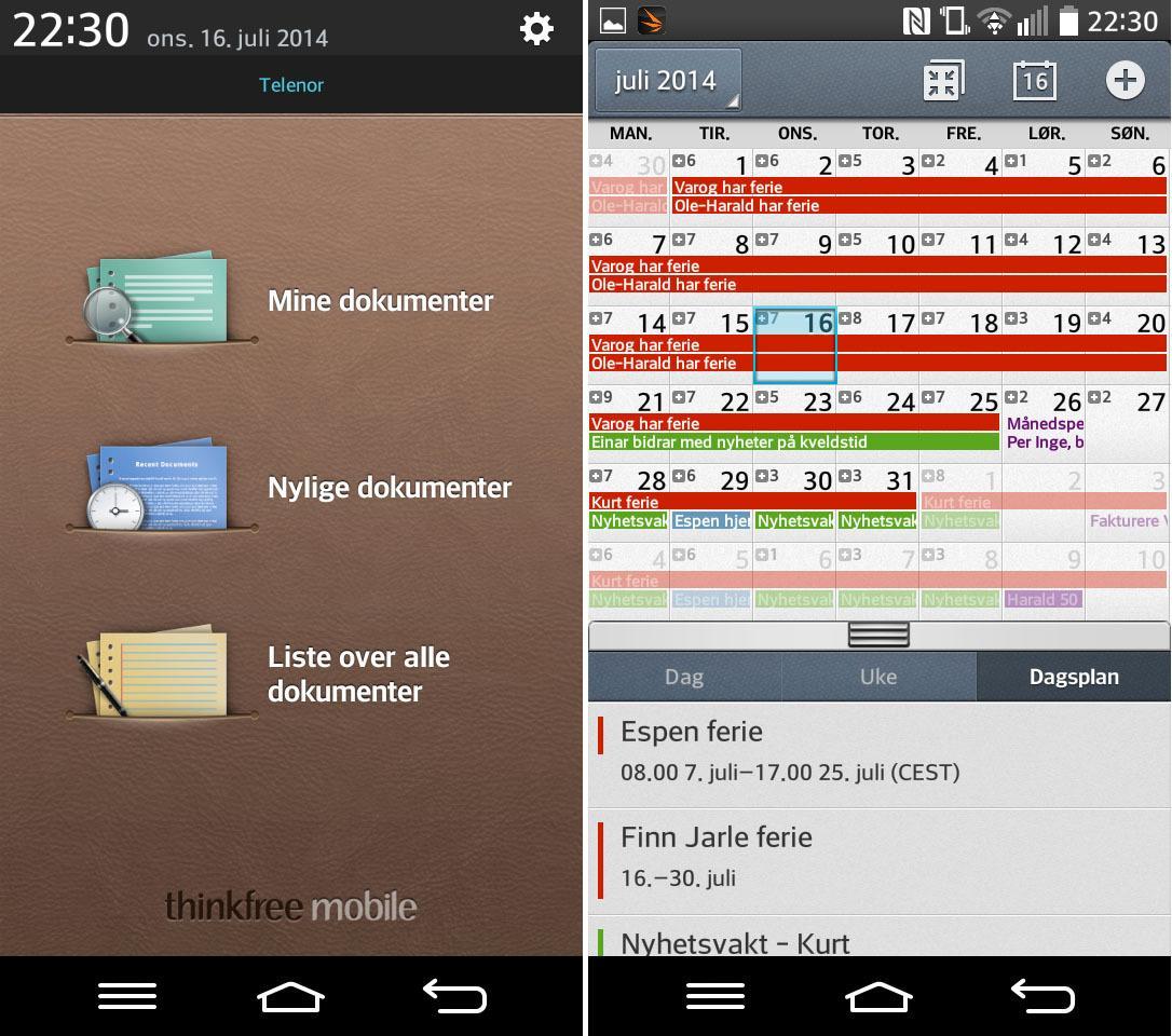 ThinkFree Viewer (til venstre) lar deg vise dokumenter i blant annet Microsoft Office-formatene. Skjermbildet til høyre viser månedsvisningen i kalenderappen. Du kan samle mange kalendere i én visning.