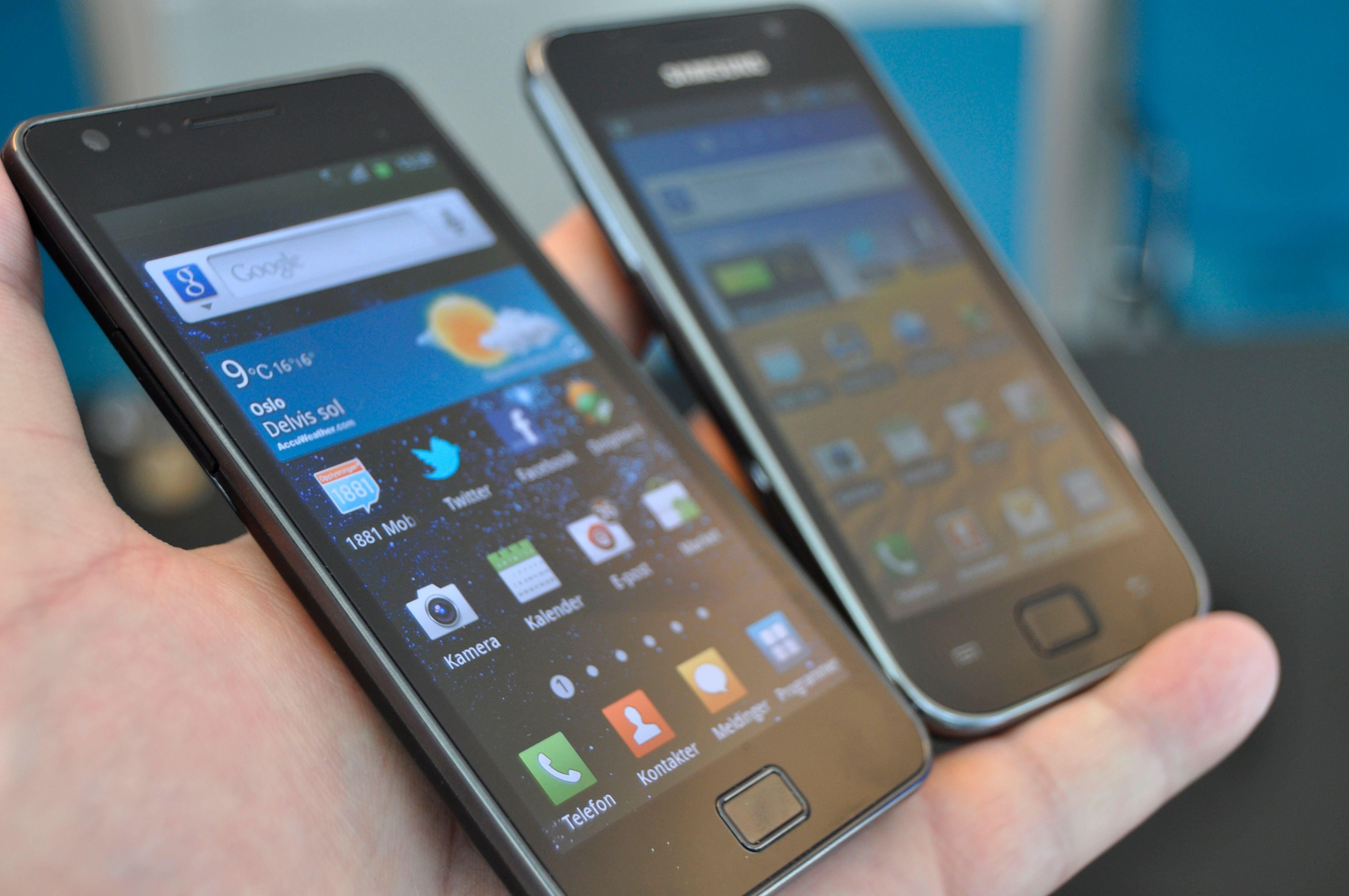 Her er Galaxy S II ved siden av Galaxy S.