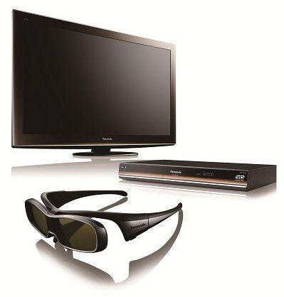 Et knippe 3D-relaterte produkter fra Panasonic, bl.a. BD-spilleren DMP-BDT300