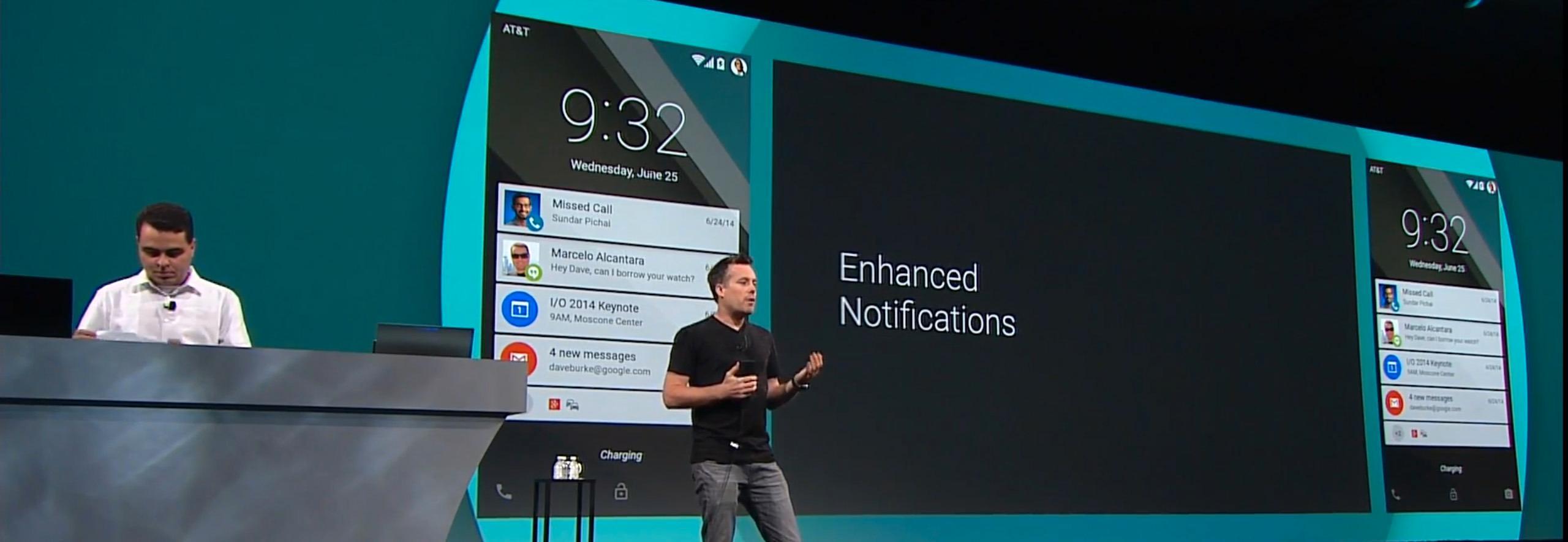 David Burke er sjefsutvikler for Android-prosjektet, og viste blant annet frem en ny måte å presentere varslinger på låseskjermen.Foto: Skjermdump/Google