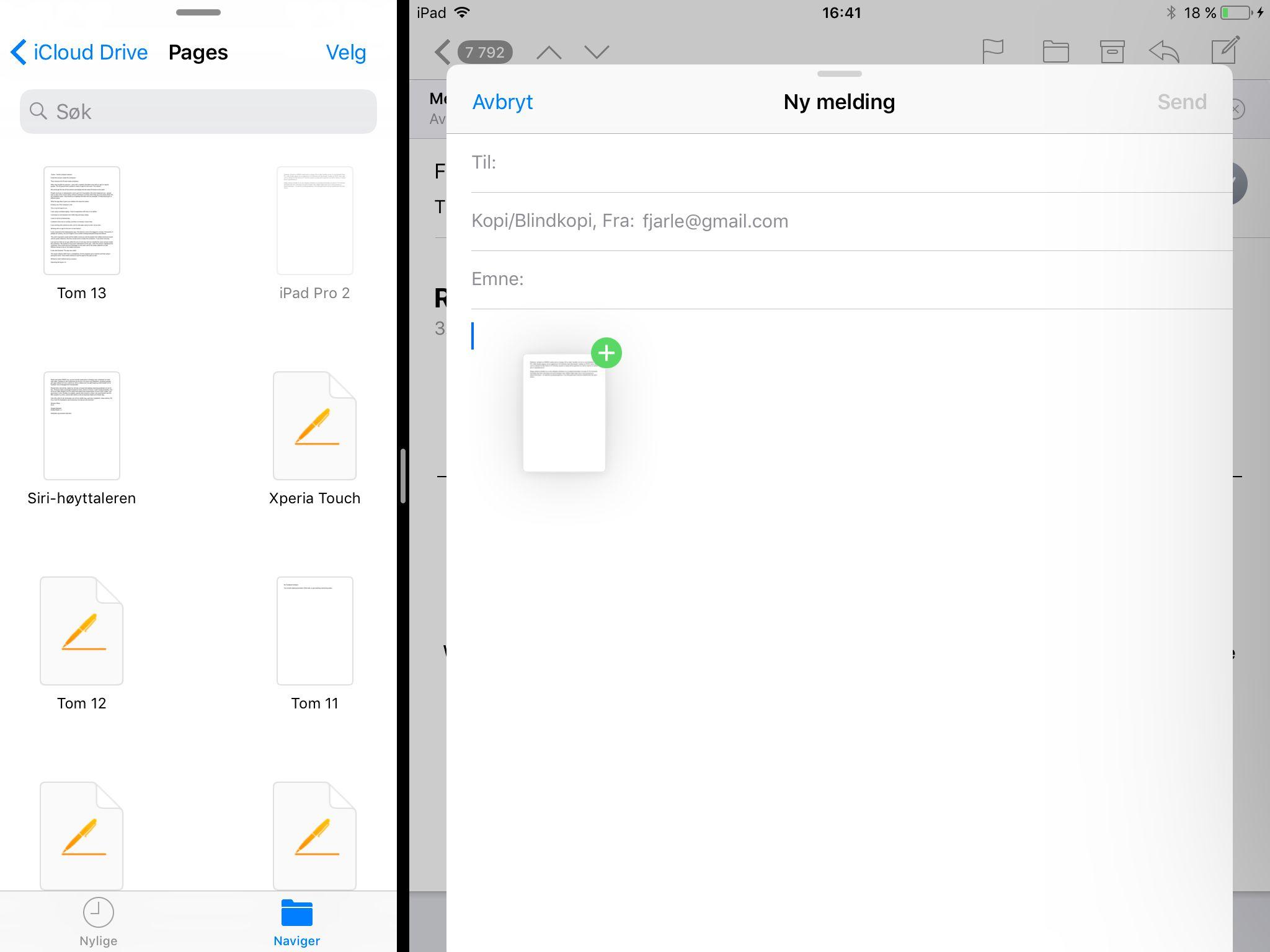 I nye iOS 11 kan man trekke innhold mellom apper som deler skjermen.