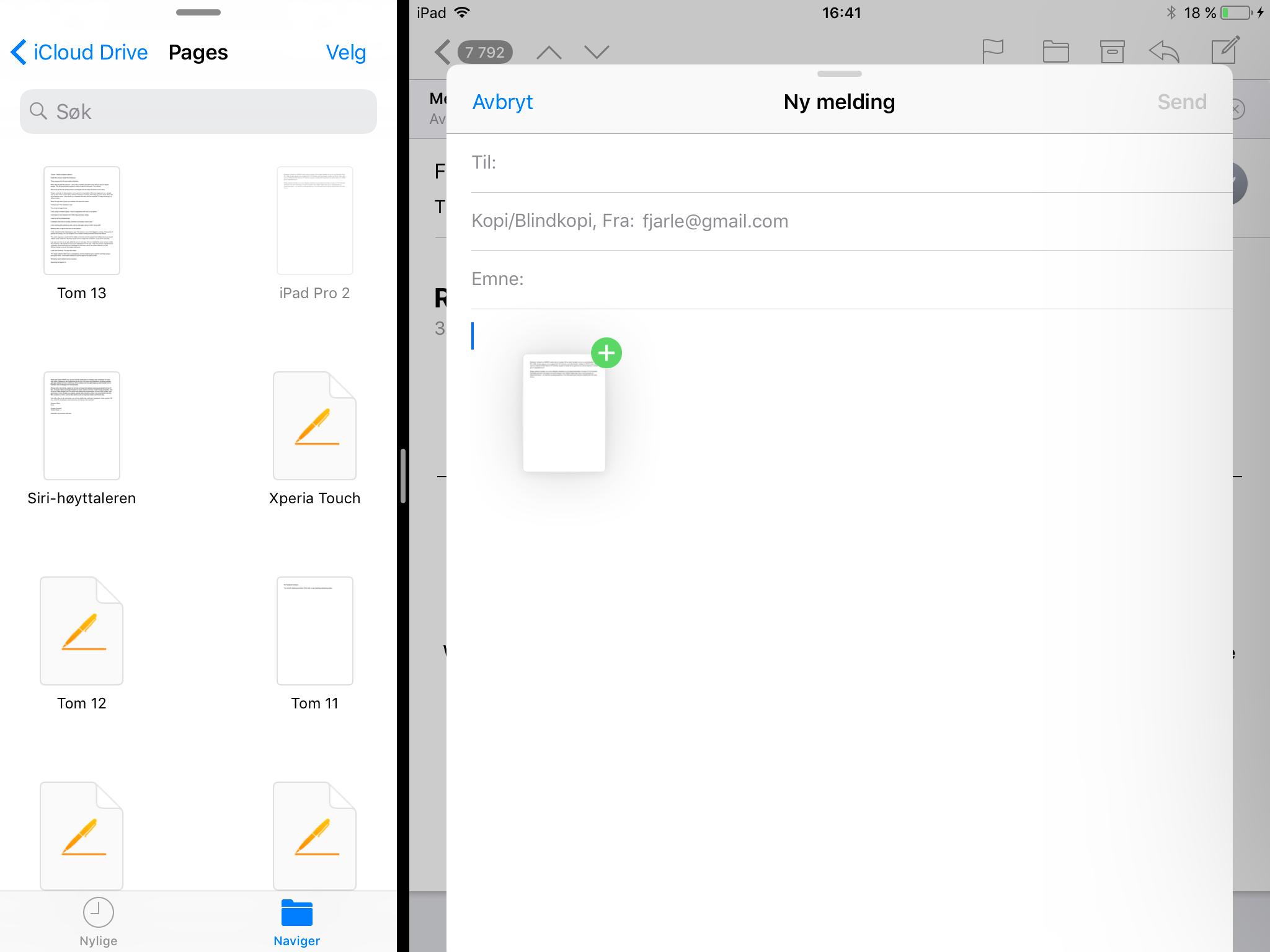 Å trekke filer mellom apper tilfører betydelig merverdi til å dele skjermen mellom apper. Foreløpig er det imidlertid begrenset med apper som støtter dette. Her kommer det nok langt flere så fort iOS 11 er ferdig.