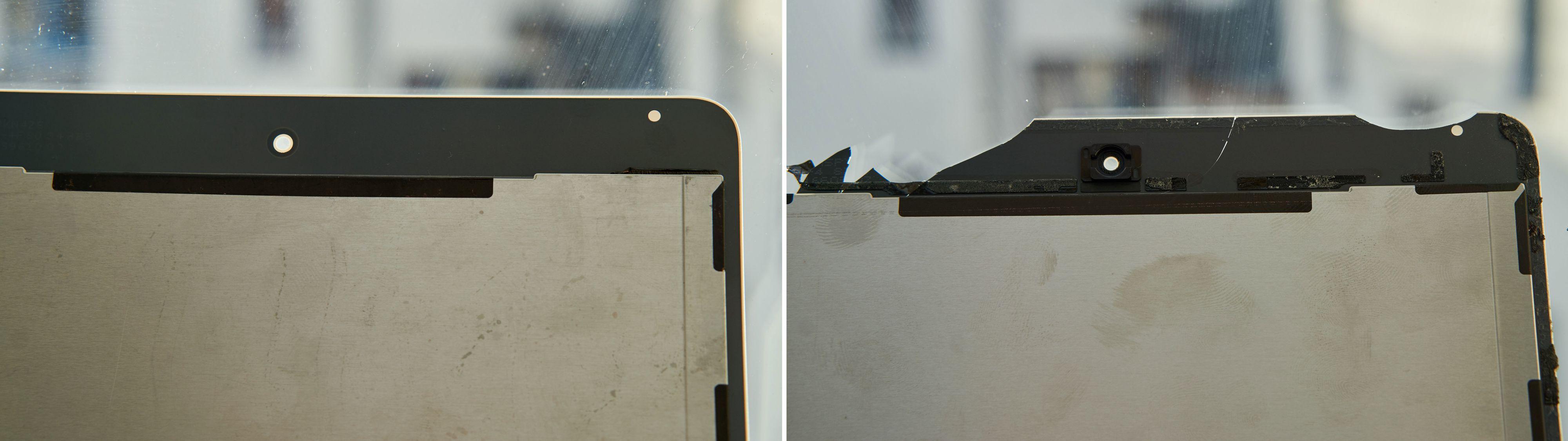 Bakside-toppen av ny (venstre) og gammel skjerm.