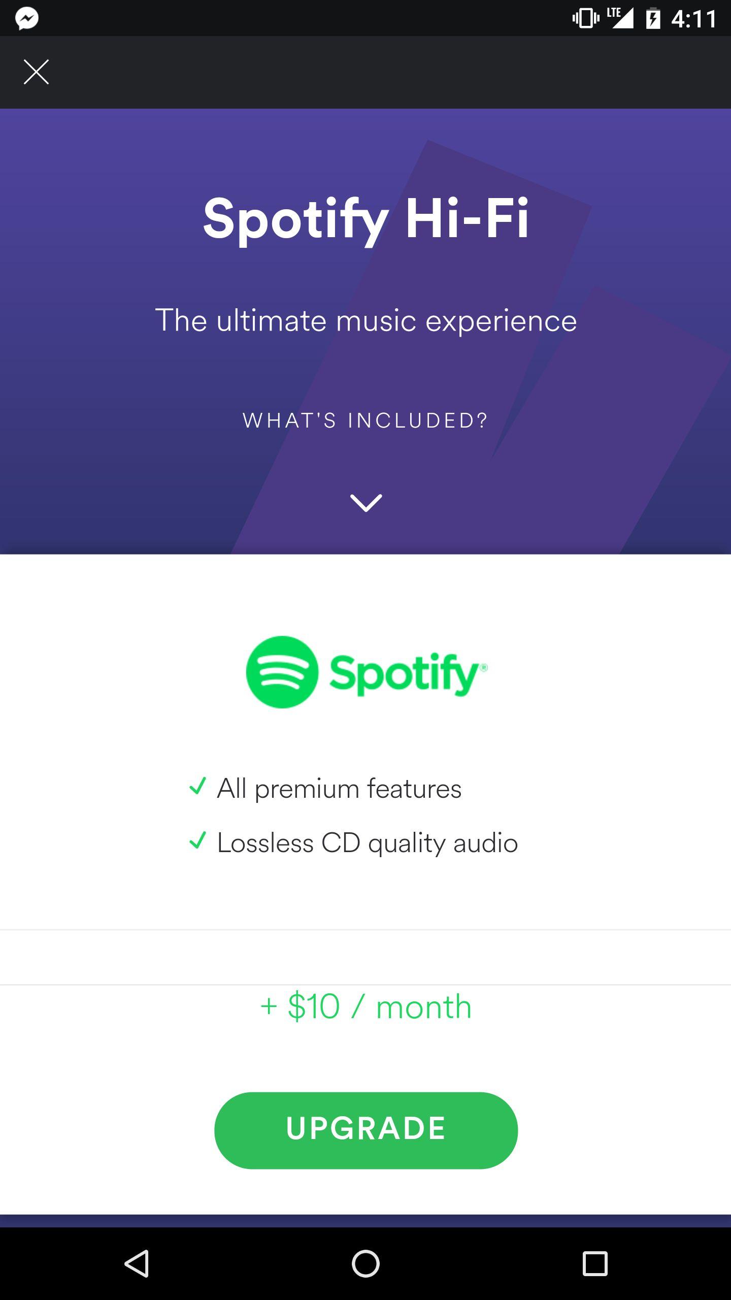Dette bildet ble lagt ut på Reddit, og ser ut til å bevise at Spotify planlegger et Hi-Fi-tilbud.