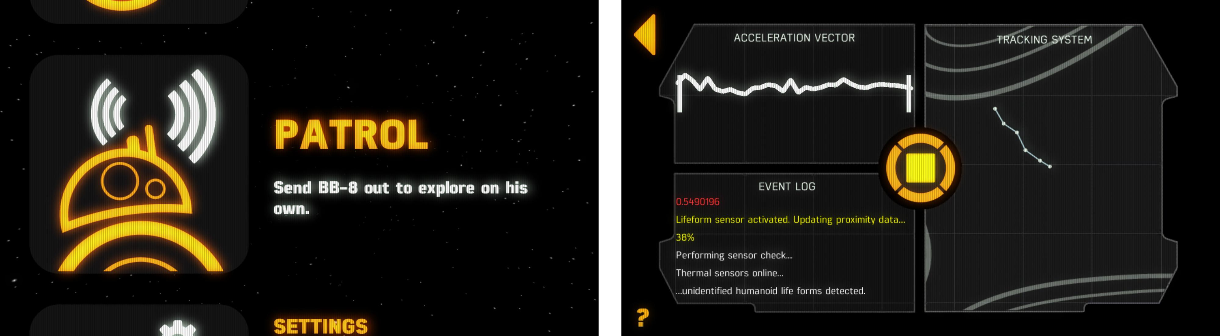 Du kan sende BB-8 ut på patrulje på egen hånd. Vår BB-8 ser ut til å være litt dum, så den bruker sjelden mange sekundene på å finne seg kollisjonsverdig inventar. Foto: Finn Jarle Kvalheim, Tek.no