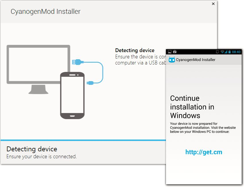 Installasjonen starter på mobilen (skjermbildet til høyre), og så får du beskjed når du skal fortsette på PC-en.