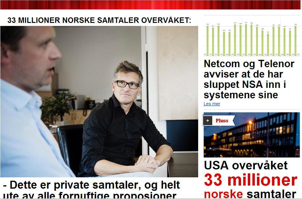 Dagbladet bringer i dag avsløringen om at NSA skal ha overvåket over 33 millioner norske telefonsamtaler. Antallet tilsvarer omtrent hver tiende samtale som ble foretatt i landet i den aktuelle perioden.Foto: Faksimile