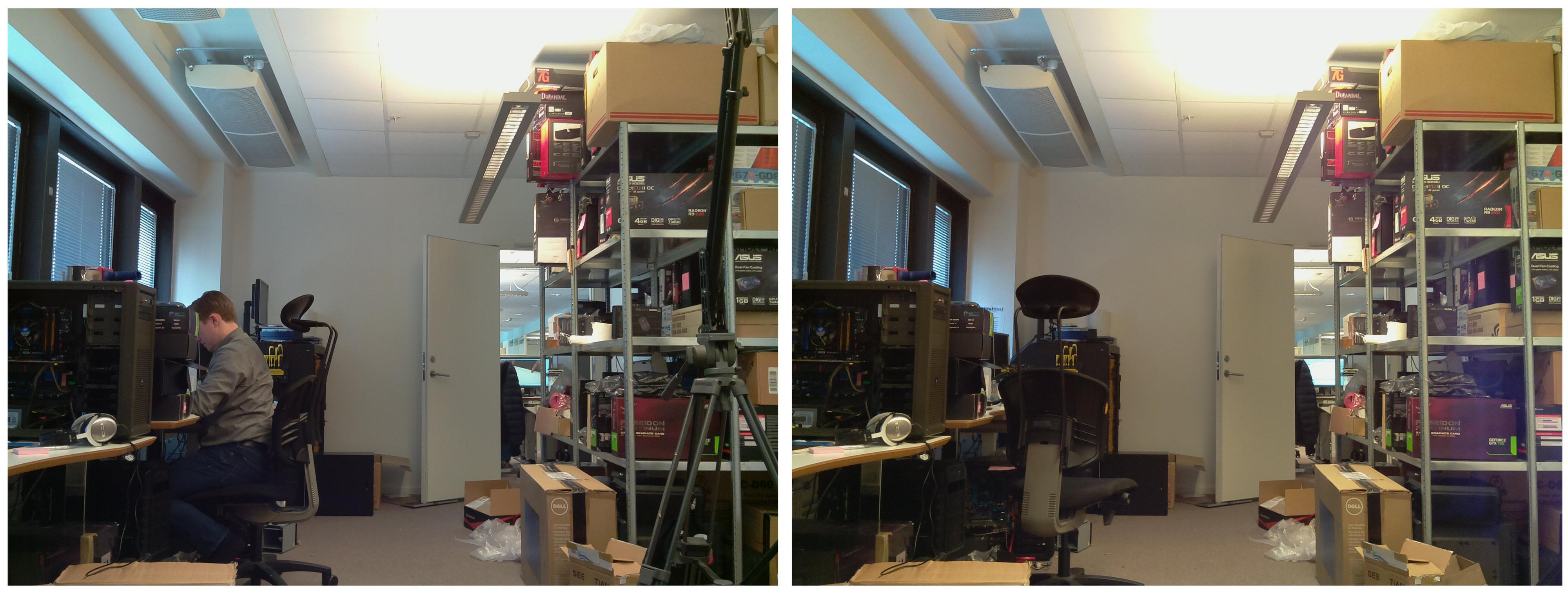 Vår ryddige testlab. På bildet til venstre er LED-en avslått, mens bildet til høyre er påvirket av lyset.Foto: Vegar Jansen, Hardware.no