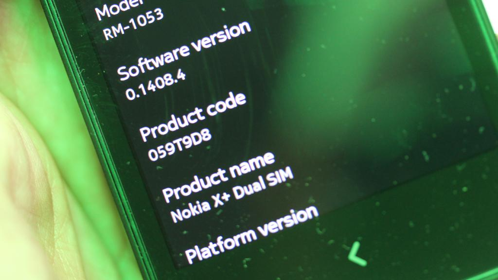 Det er ingen ting i systeminformasjonen som avslører at dette er en Android-mobil. Den kjører hverken Jelly Bean eller Kitkat, men Nokias egen variant basert på Android.Foto: Espen Irwing Swang, Amobil.no