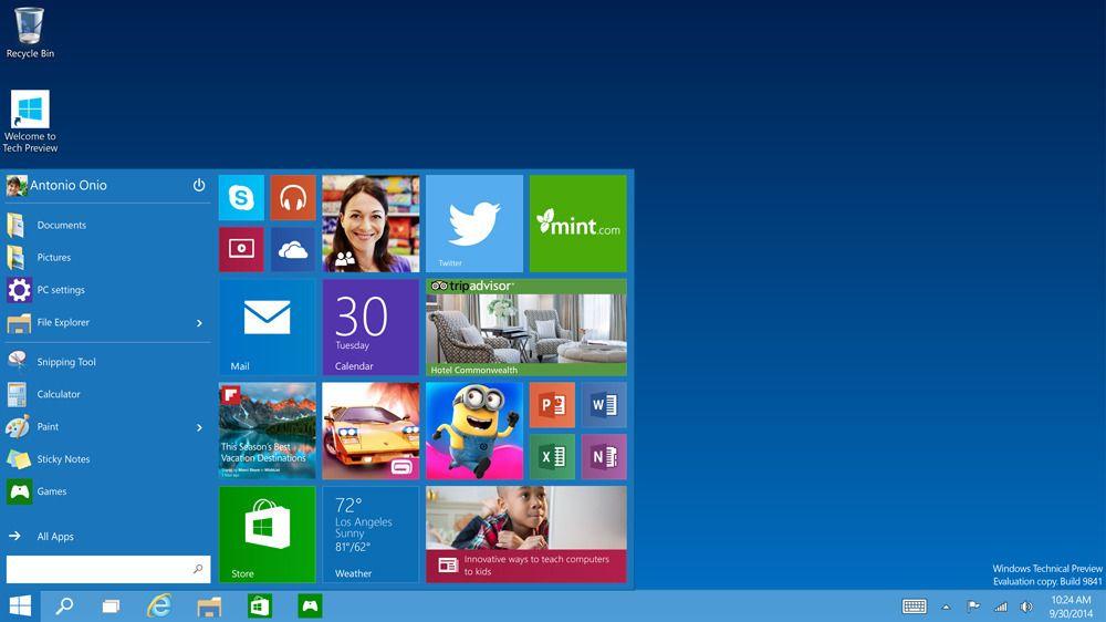 Den nye startmenyen.Foto: Microsoft
