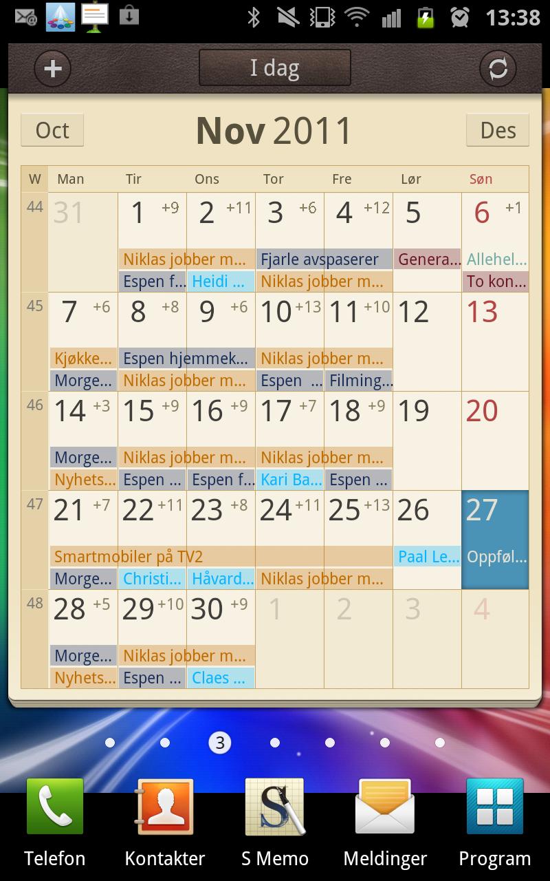 Kalenderwidget-en gir god oversikt.