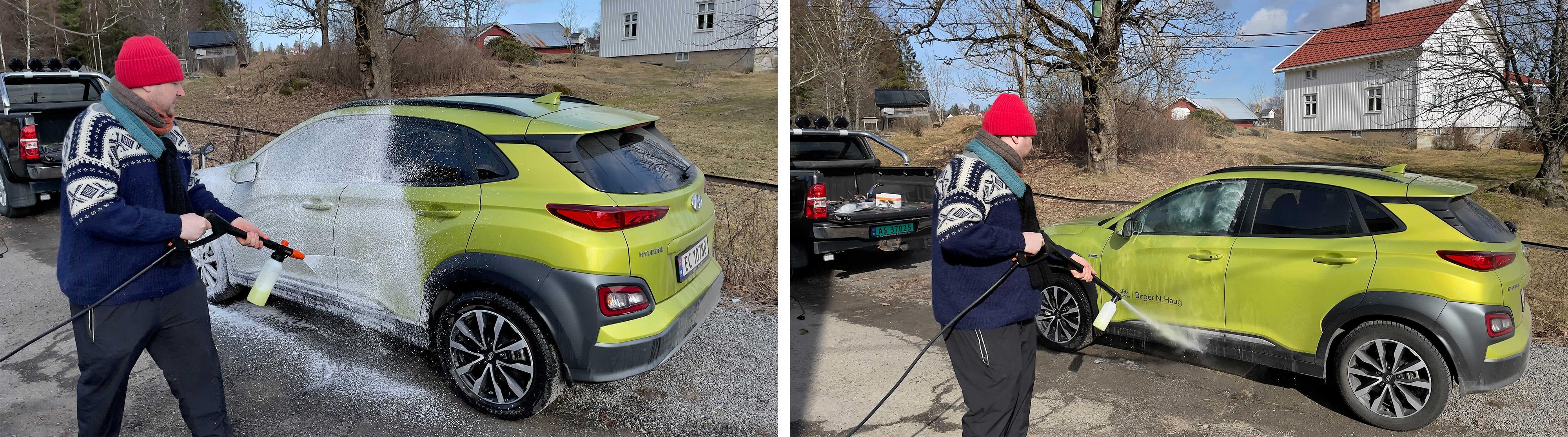 Med skumkanon blir såpeskummet liggende lenger på bilen, og kjemikaliene får gjort en grundigere jobb før du spyler rent.