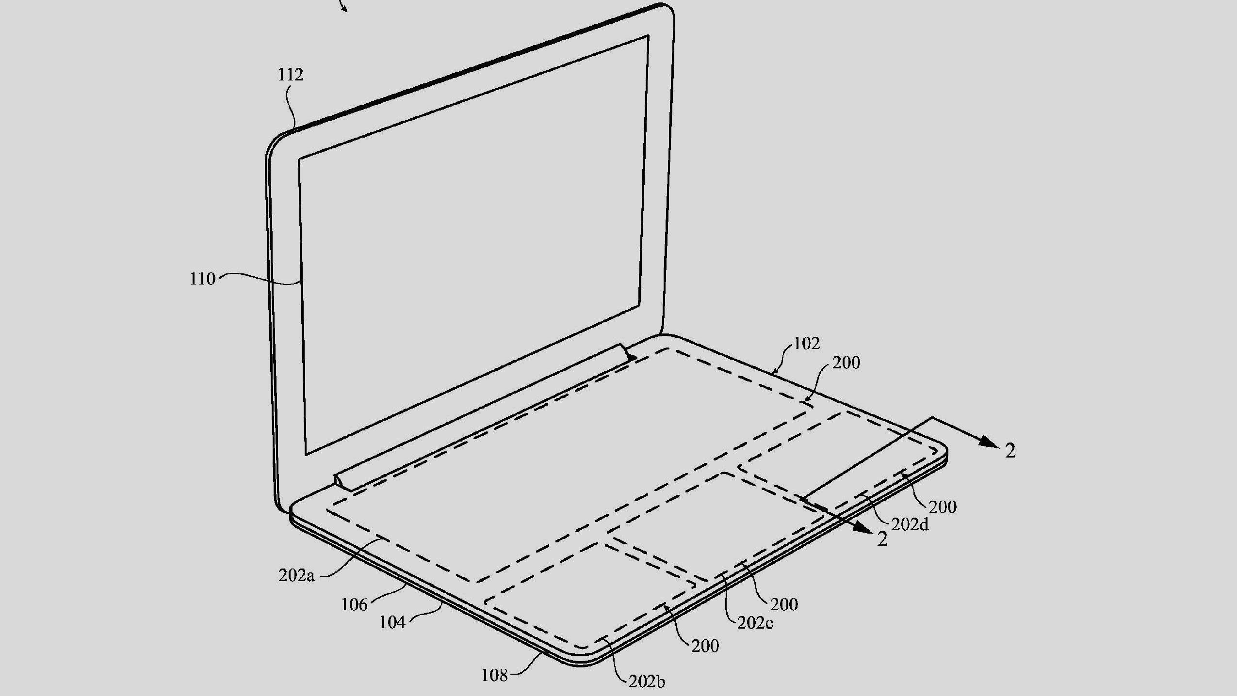 Apple tok patent på et virtuelt tastekonsept til sine bærbare tidligere i år, men det er uvisst om dette har noe å gjøre med de nye ryktene. Dette er et illustrasjonsbilde fra patentdokumentet.