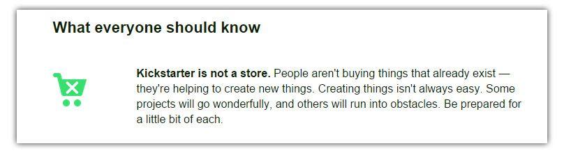 Kickstarter er ikke en butikk, så du er ikke beskyttet av kjøpsloven her. Foto: Skjermdump, Kickstarter.com