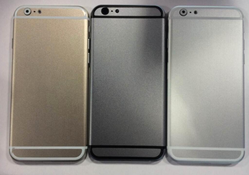 Dette skal være «mockups» som viser de tre fargene iPhone 6 vil komme i. Bildene kommer fra Sonny Dickson, som tidligere har vært svært treffsikker i sine Apple-lekkasjer.Foto: Sonny Dickson