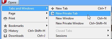 I Opera kan du velge mellom en privat fane eller et privat vindu.