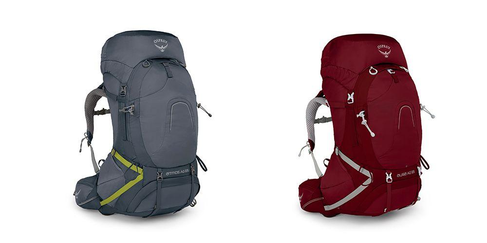To gode eksempler på tursekker fra Osprey. Fra venstre: Atmos AG 65, Aura AG 65.