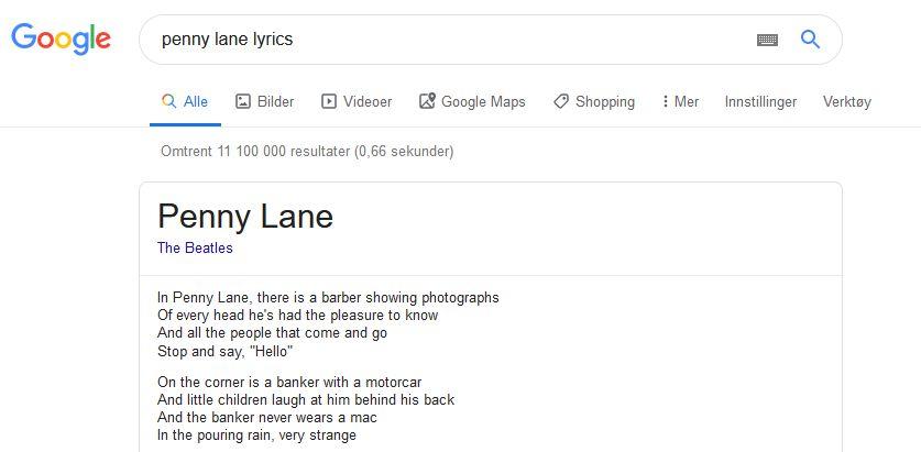 Ved et Google-søk dukker nå sangtekster flest opp direkte.