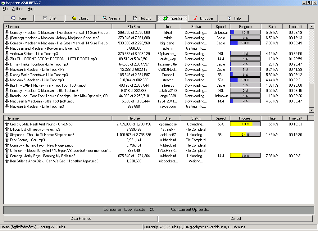 Slik så Napster ut i versjon 2.0.