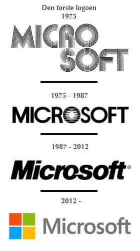 Siden 1975 har Microsoft endret logoen sin fire ganger. .