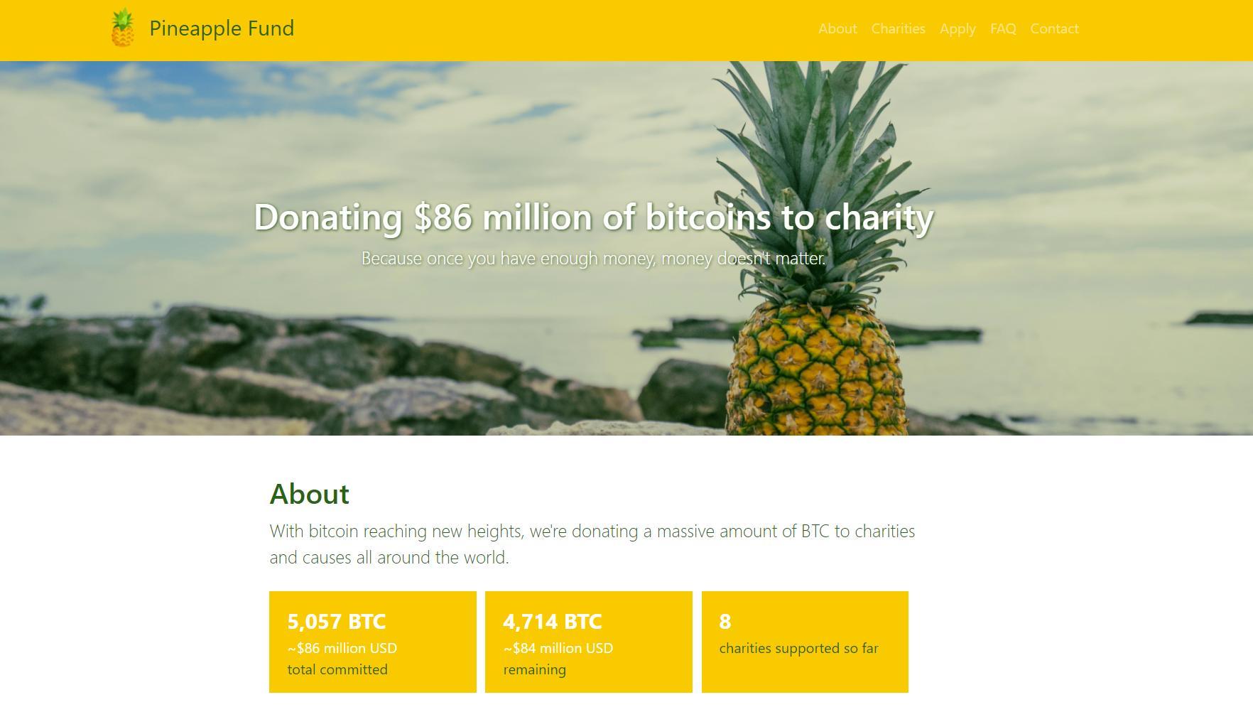 The Pineapple Fund gir bort enorme mengder Bitcoin-verdier til veldedige formål. Bilde: Skjermdump