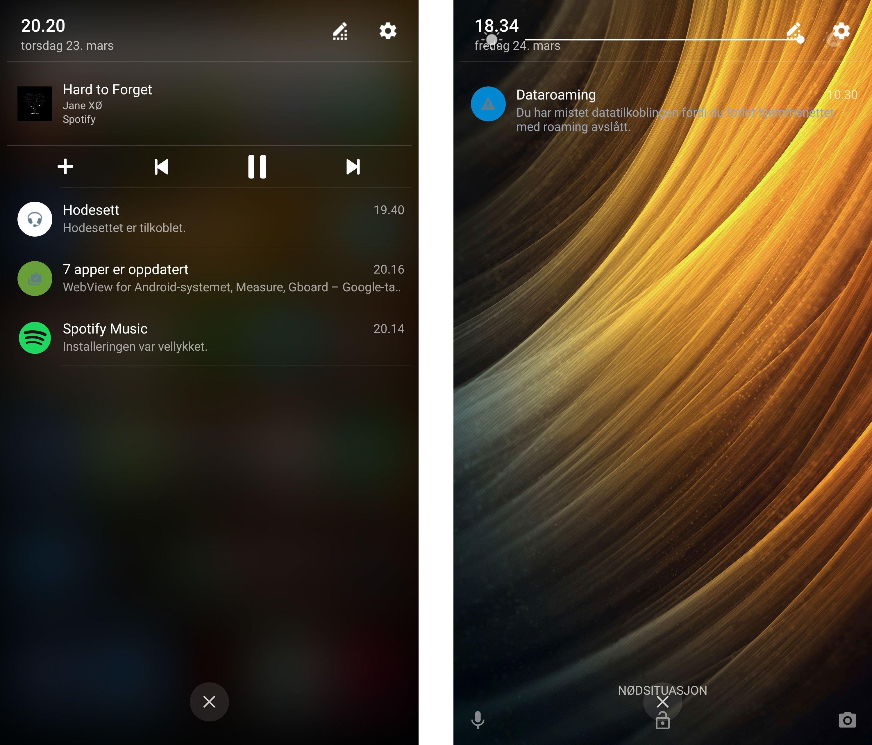 Phab 2 Pro er ikke helt perfekt på programvaresiden. En pussighet er at toppmenyen av og til låser seg når telefonen er åpen, og kun lar seg trekke ned når den er låst. Av og til med pussige grafiske merkverdigheter som i bildet til høyre.