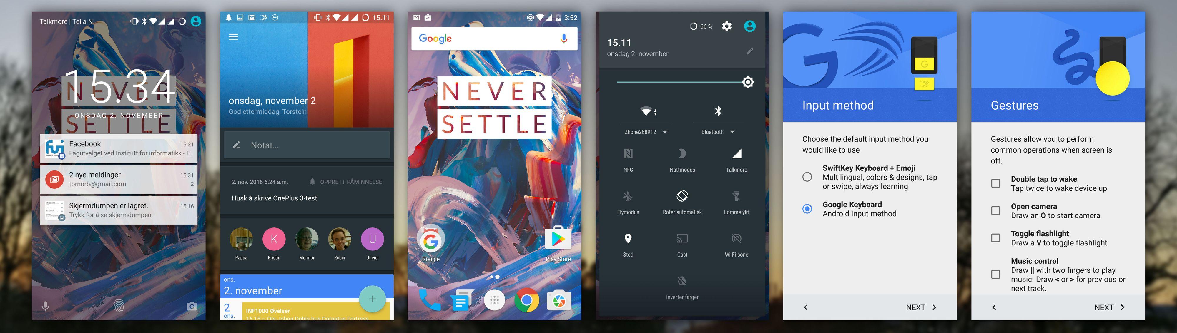 Grensesnittet i OnePlus 3. Til høyre innstillingsmuligheter allerede ved første oppstart. Nest lengst til venstre ser du Shelf-skjermen.