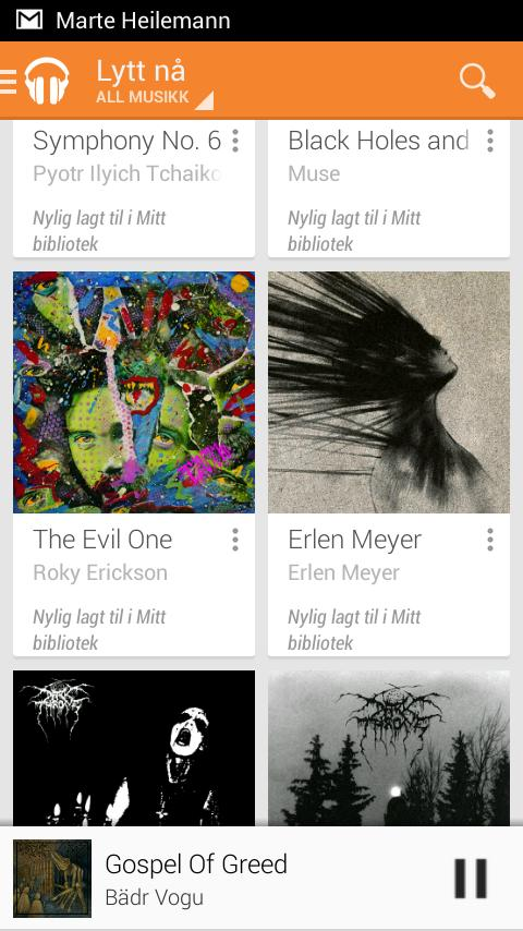Google Play er en fullverdig musikkspiller for både lokale filer og et eksternt musikkbibliotek ala Spotify og Wimp.