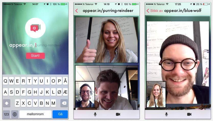 Appear.in er en enkel og genial konferansløsning som fungerer utmerket på tvers av alle plattformer.Foto: Skjermdump fra iTunes