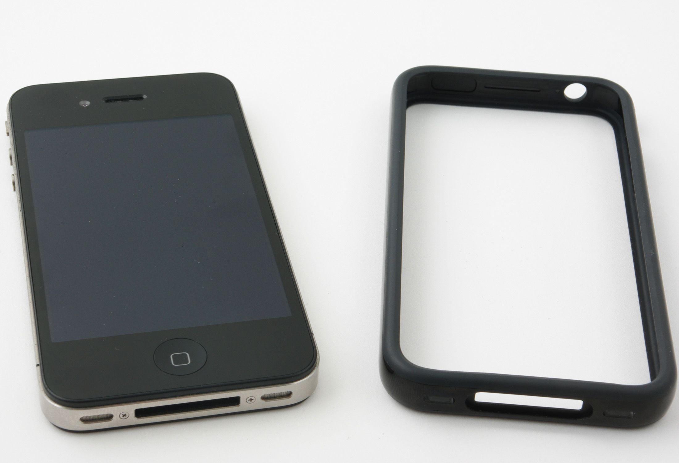 """Slik ser Apples deksel ut. De kaller det en """"Bumper"""". Den følger ikke med i pakken og må kjøpes utenom. Den skal forbedre mottaket, men vi brukte den kun på en testrunde med t-banen."""