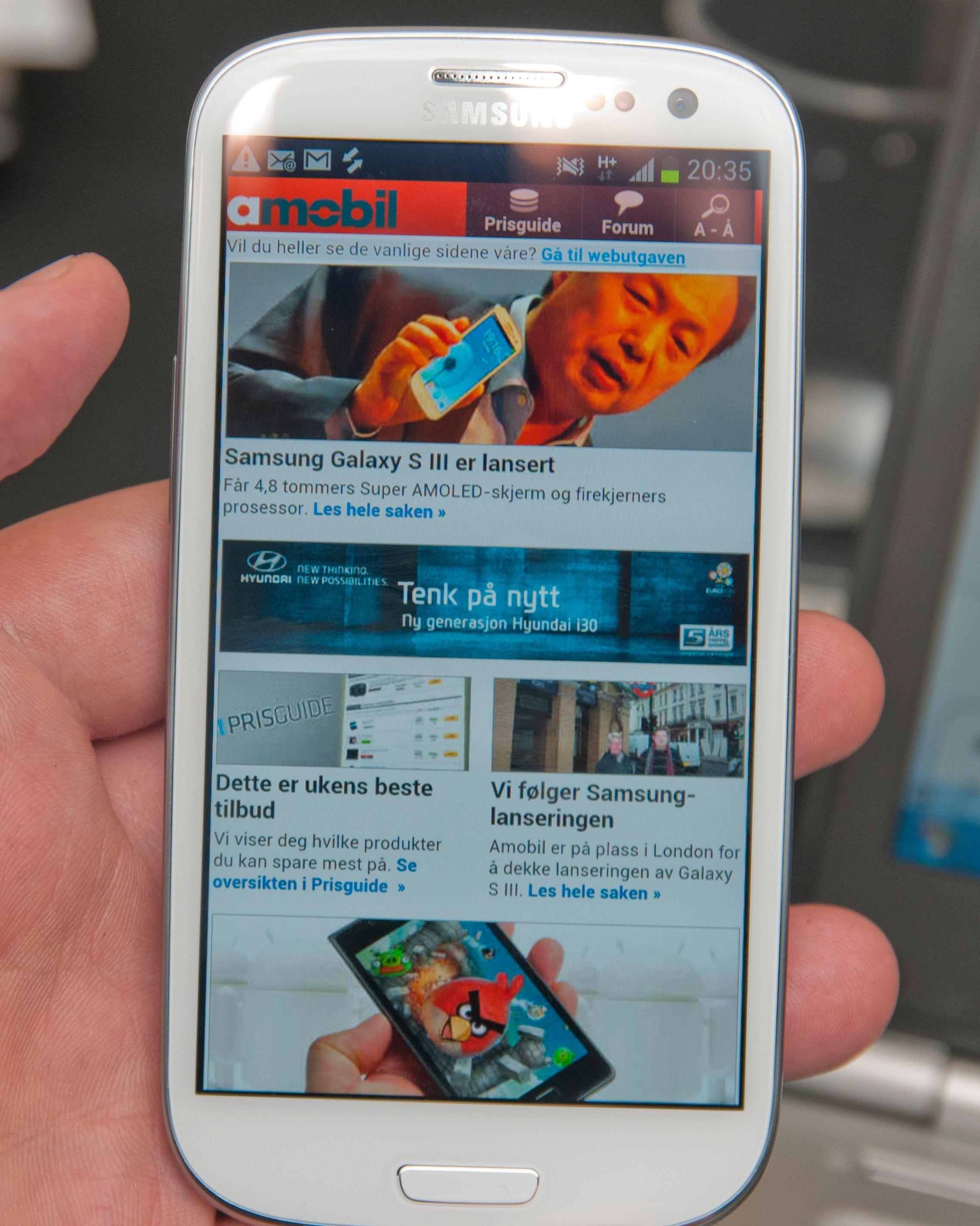 Nettleseren i Galaxy S III går helt til toppen hvis du tapper øverst på telefonen.