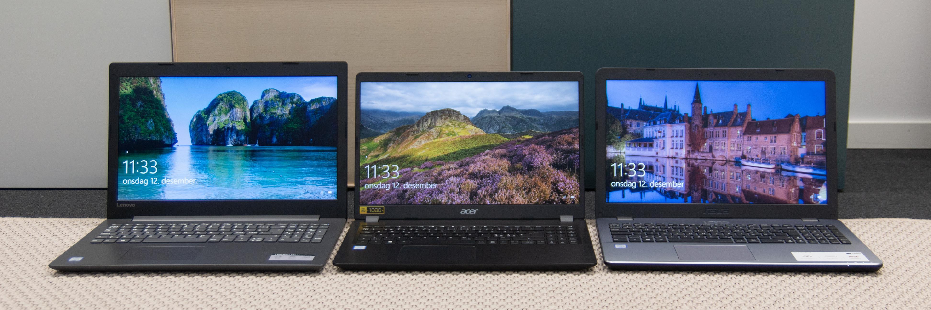 Fa venstre til høyre: Lenovo IdeaPad 330, Acer Aspire 5 og Asus VivoBook 15.