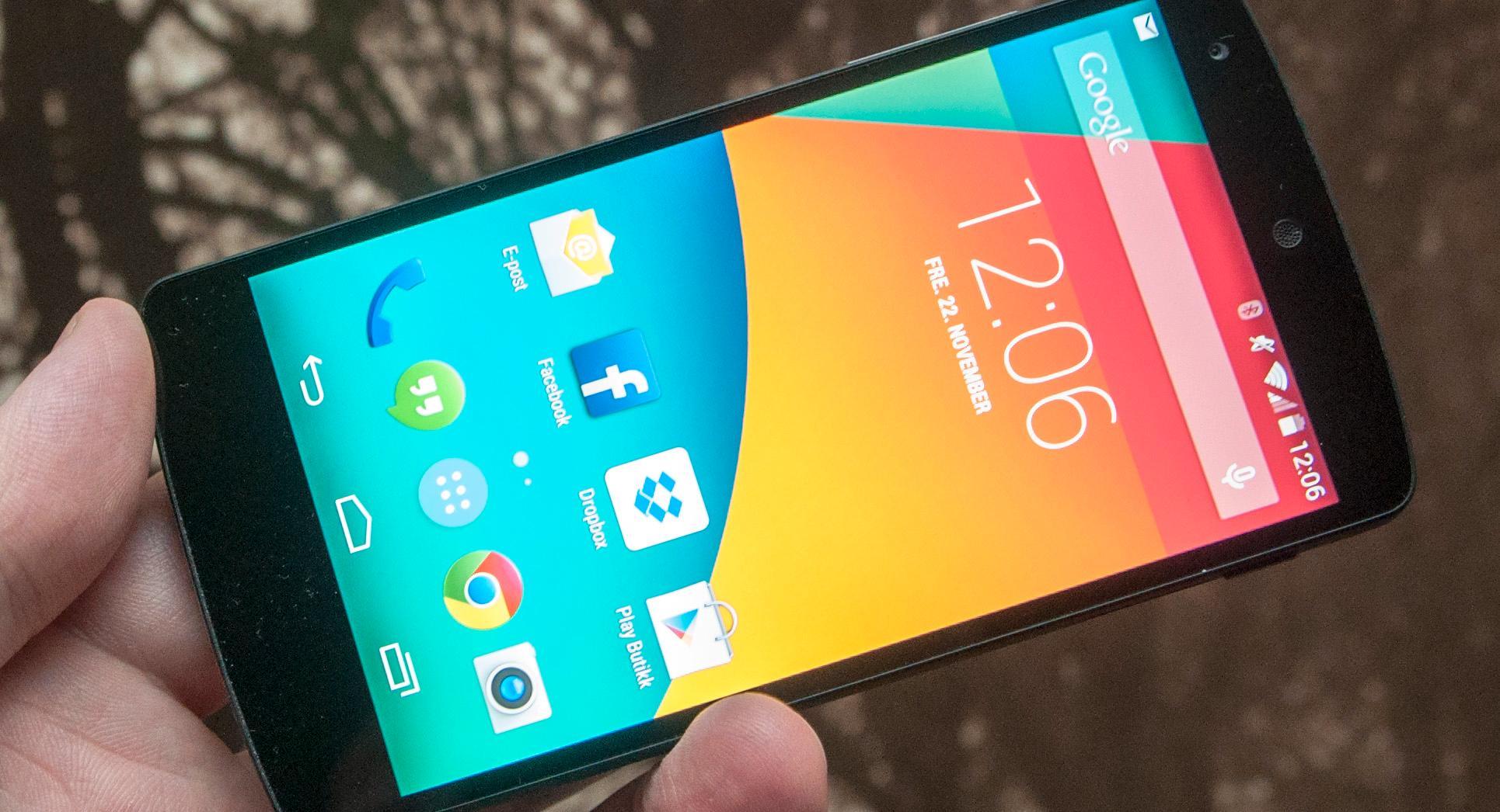 Google Nexus 5 er produsert av LG. Dette er en referansemodell fra Google, som kommer med aller siste versjon av Android, Kitkat. Les merFoto: Finn Jarle Kvalheim, Amobil.no