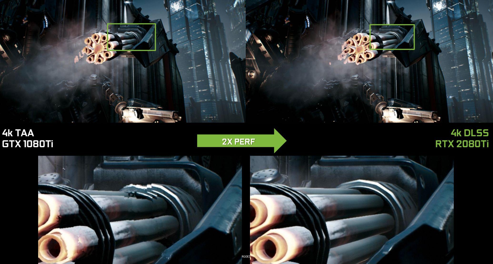 Fordi DLSS har ovd pa utjevning i hvert spill pa en superdatamaskin kan den legge inn feilkorrigering for a unngå artefakter som sett hos TAA-teknikken til venstre.