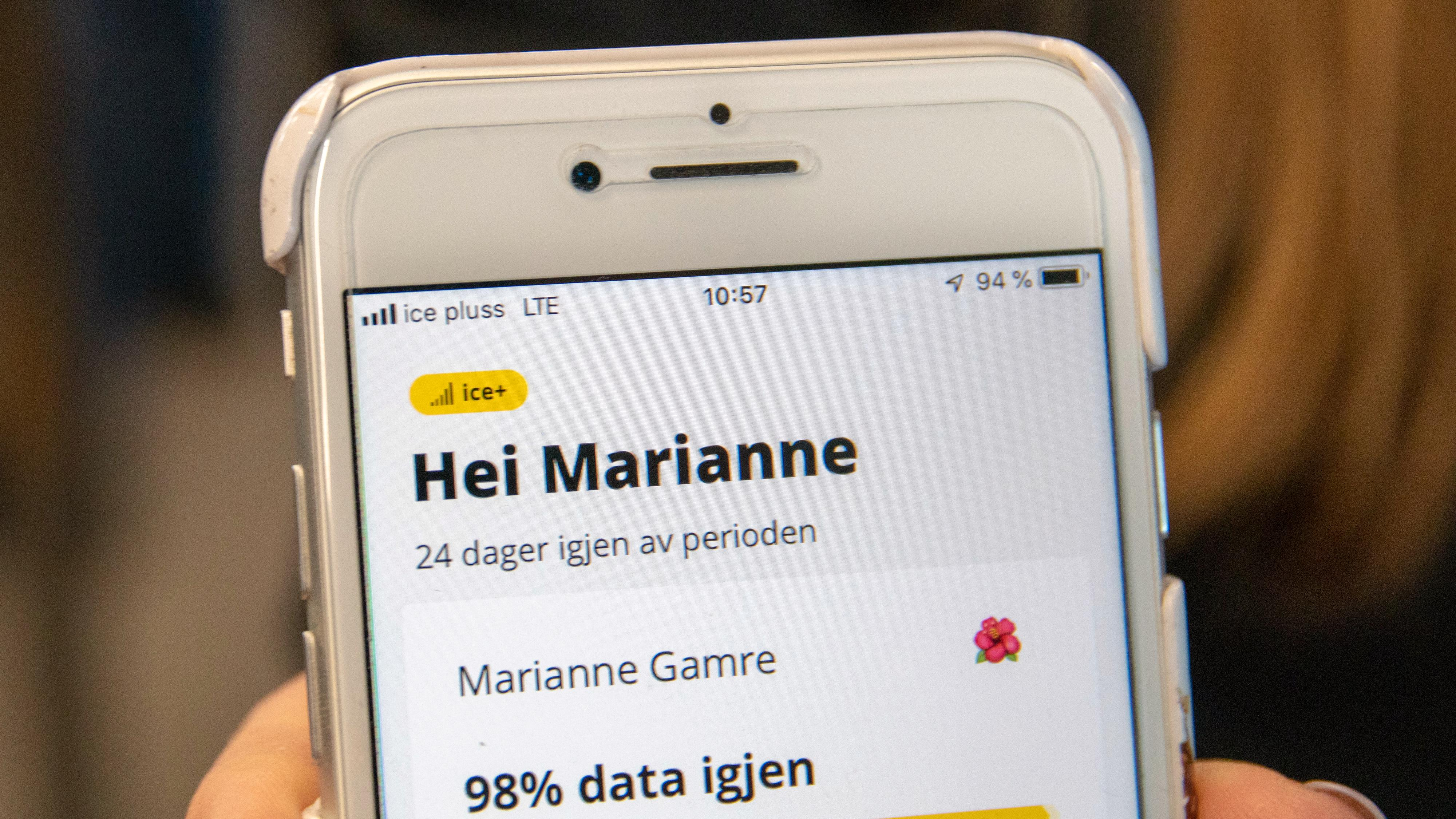 Slik ser det ut i appen når du er koblet mot Ice+-nettet. Legg merke til at telefonen også viser dette øverst i det venstre hjørnet.