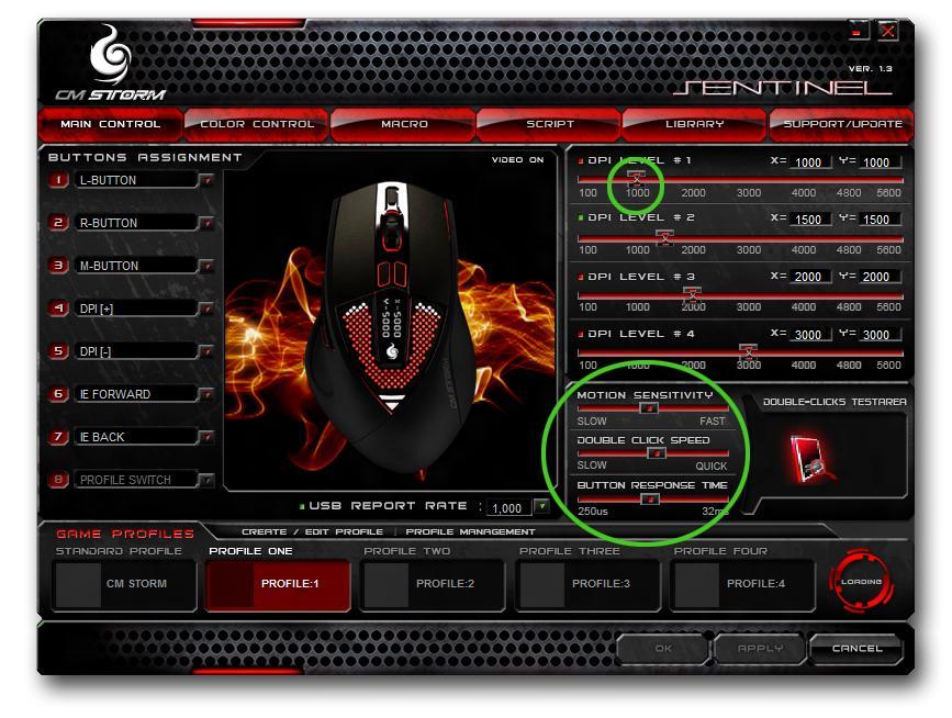 De fleste nye spillmus kommer med programvare for å stille inn DPI, og i noen tilfeller en egen innstilling for musesensitivitet. Sistnevnte er det samme som Windows sin egen hastighetstyring, og bør ikke røres. Still heller på DPI-en for å bestemme sensitivitet.